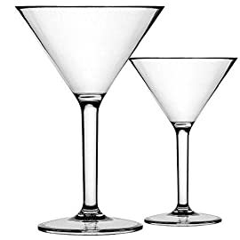 K BASIX Unbreakable Martini Glasses Set of 2 - Polycarbonate - Reusable, 10.2 Ounce - Premium Quality - Gold Series 39 HIGH QUALITY UNBREAKABLE PLASTIC: Tired of broken glasses? These high quality polycarbonate plastic glasses will give you crystal glass feel you desire but won't break if you drop them! FOR MARTINI LOVERS: Think beyond Martini! These unique glasses are simple and classy and can be used for plenty of purposes; use them for drinks, or as stunning serving vessels for appetizers and desserts. Get these now to elevate your evening experience. THE PERFECT GIFT FOR ANY OCCASION: When nothing but the best will do, these sophisticated, Martini glasses make the ultimate gift for his or her birthdays, weddings, thanksgiving & Christmas. The glasses come in beautiful & elegant box which makes them ideal gifts.