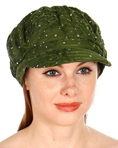 (Sequin newboy Cabbie hat with Visor, for Women, Summer Gatsby Cap, Chemo hat Olive)