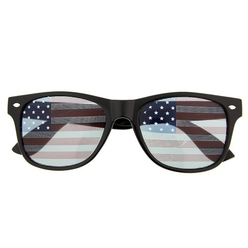 USA American Flag Sunglasses Glasses Patriot Shades July Independence (Black)