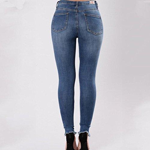 Tobillo Flecos Jeans Cintura Rotos Ajustados Vaqueros De EláStico Jeans Sexy Up LHWY para Mujer Flacos Tejanos Alta con Bordados Del Push De g1gqHA