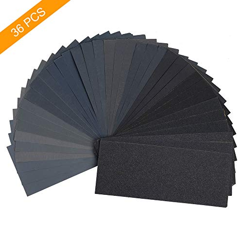 36Pcs Wet and Dry Dual-use Sandpaper, 120 To 3000 Assorted Grit Sandpaper for Wood Furniture Finishing, Metal Sanding and Automotive Polishing, 9х3.6 Inch