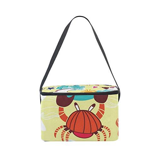 Stars Picnic Frigo Scuola Uomini Summer Bag Bambini Pranzo Scatola Beach Donne Termica Per Borsa Cerniera Borsetta Prep Il Crabs Lunch Alinlo Pasto EwTqUCU