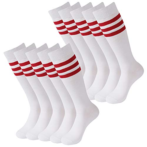 Knee High Soccer Socks, SUTTOS Cushion Long Tube Winter Warm Solid Team Football Skiing XL Soccer Socks, Thanksgiving Christmas gift Christmas Santa Socks,White Red 10 Pairs