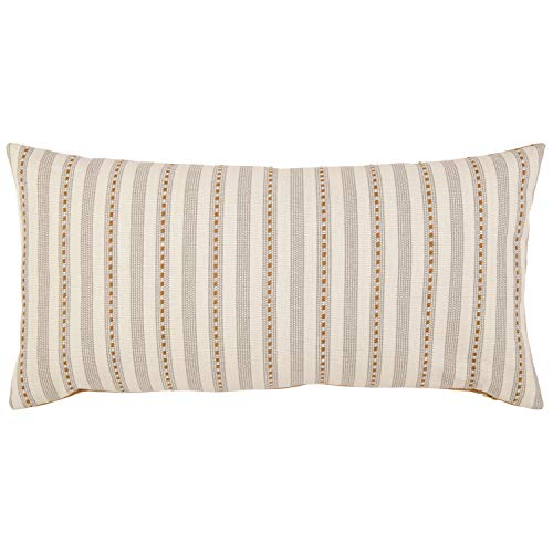 Stone Beam Classic Accent Stripe Throw Pillow – 12 x 24 Inch, Gray Gold