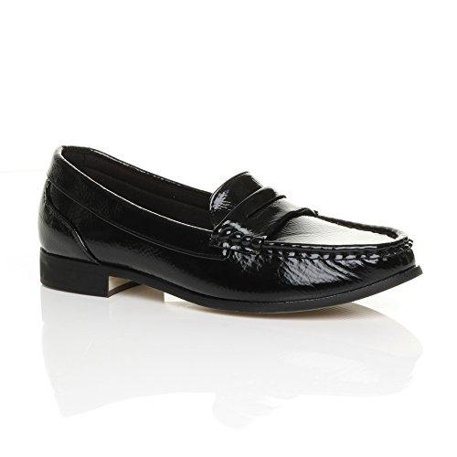 Ajvani Damen Klein Absatz Pennyloafer Collegeschuh Profi Breit Komfort Schuhe Größe Schwarz Lack