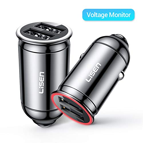 apter, Mini 4.8A/24W Double USB Car Charger, [All Metal] Fast Car Adapter Compatible iPhone X/XR/Xs max, iPad, Galaxy S8/S9/S10 [Indicator Display Voltage Statu] (Black) 1-Pack ()