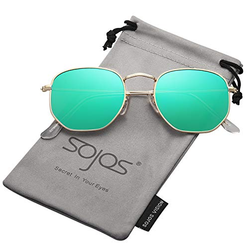 SOJOS Small Square Polarized Sunglasses for Men and Women Polygon Mirrored Lens SJ1072 with Gold Frame/Green Mirrored Polarized ()