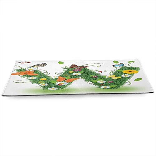 funkky Letter W Fitness Yoga Mat Nature Inspired Green Foliage with Wildflowers Various Butterflies Vivid Palette Sized Right for Your Fitness W24 x L70 Multicolor