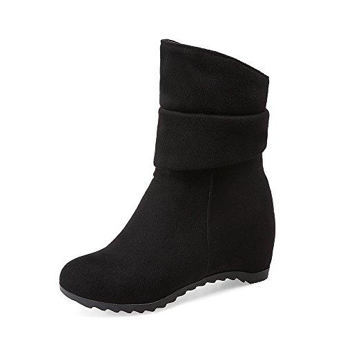 Meotina Women Boots Hidden High Heels Mid Calf Boots Platform Wedges Shoes Black q6gP0nuQZ