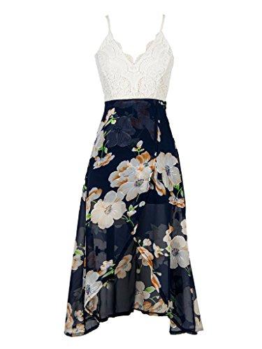 Persun Women's V-neck Lace Overlay Open Back Floral Print Split Empire Dress,X-Large