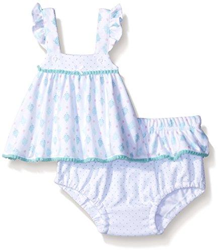 Quiltex Baby Girls 100% Cotton Diaper Set w/ Skirted Panty & Pompom Trim 6/9