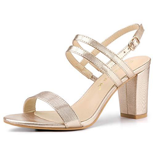 Allegra K Women's Slingback Block Heel Ankle Strap Gold Sandals - 10 M US