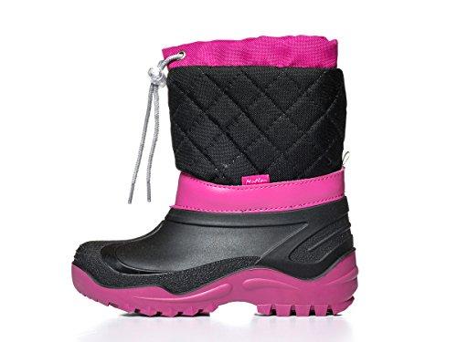 KREXUS Kinder Schneestiefel Warm gefütterte Winterstiefel Wasserdichte Winterschuhe Snowboots für Jungen Mädchen Schwarz Mit Pink