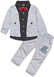 Edjude Baby Boys 2pcs Gentleman Outfits Set Toddler Clothes Infant Tuxedo Formal Suits Long Sleeves Shirt Pant