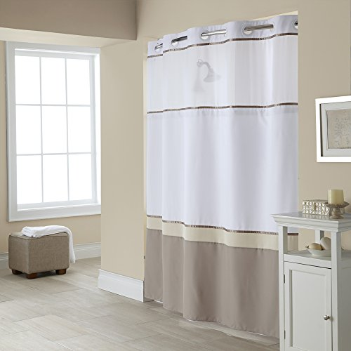 Hookless RBH40MY025 Windsor Shower Curtain with PEVA Liner - Taupe