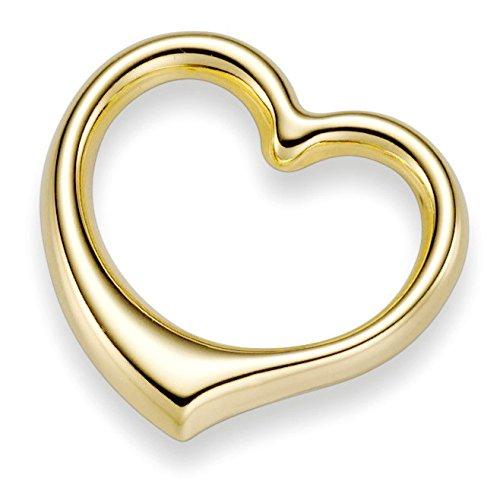 Pendentif coeur 22 x 24 mm en or jaune 585 massif goldanhänger pour femme