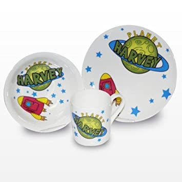 Personalised Bone China Space Childrens Breakfast Set includes Plate Bowl and... by Pmc  sc 1 st  Amazon.com & Amazon.com: Personalised Bone China Space Childrens Breakfast Set ...