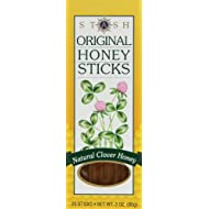 Stash Tea Original Honey Sticks, 20-3 oz Sticks, Indidvidually Sealed Portable Honey Tubes, 100% Pure Clover Honey, Kosher Certified