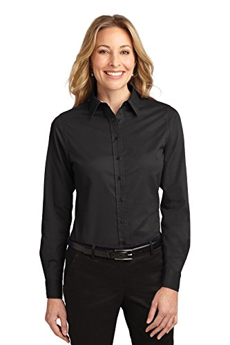 Port Authority Women's Ladies Long Sleeve S Black/Light Stone from Port Authority