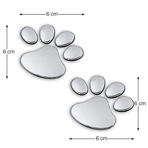 LZLRUN 4PCS Black 3D Chrome Dog Paw Footprint Sticker Decal Auto Car Emblem Decal Decoration