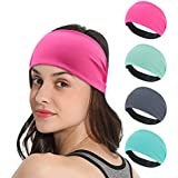 DINIGOFIN Wide Workout Headbands for Women Non Slip Athletic Yoga Headbands-Moisture Wicking Sweatband for Sports,Running,Yoga and Fitness