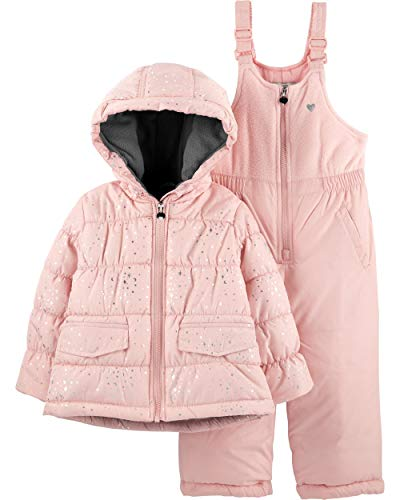 OshKosh Little Girls' Star Print Heavy Weight Winter Coat and Snow Pants, Light Pink, 2T
