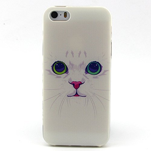 iPhone 5s Case, Hongqing Shop Fashion Pattern Design Ultra Slim Thin TPU Rubber Soft Back Cover Protective Skin Case for Apple iPhone 5/5S (White Cat)