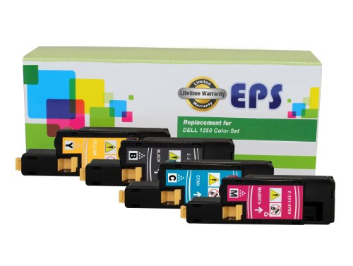 EPS Dell Replacement Toner Cartridges 1250C, 1350, Color Set High Yield (Black, Cyan, Magenta, Yellow), Office Central