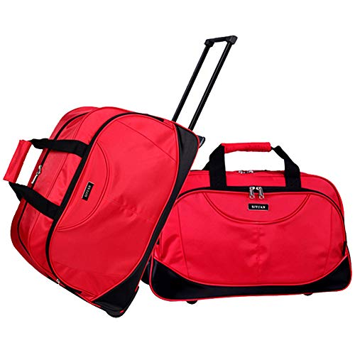 - SIYUAN Travel Luggage Set Foldable Big Trip Bags Overnight Bag Trolley Case Suitcase Rolling Red Large