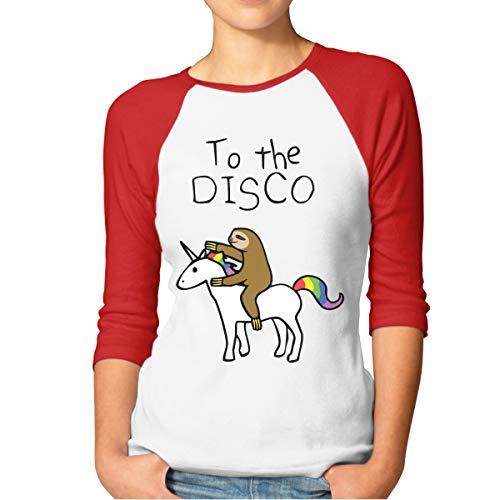 Buecoutes Women's Sloth Riding Unicorn 3/4 Sleeve Baseball Tee Raglan T-Shirts Red
