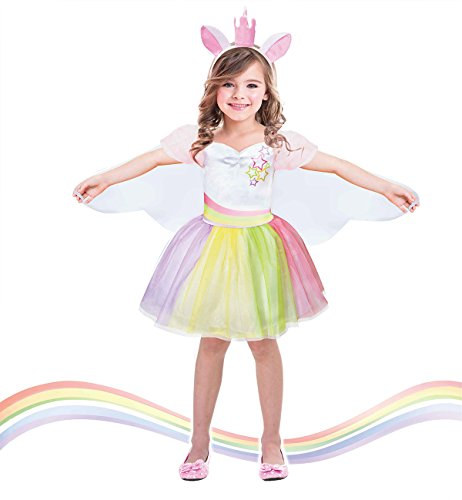 Girls Unicorn Costume for Halloween Party Dress Up Dress(7-9T)