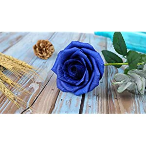 Royal Navy Blue Paper Rose Unique Anniversary Gift For Her Handmade Crepe Paper Flowers for Valentine Birthday Mother Day, Single Long Stem Real Looking, 01 Flower 2