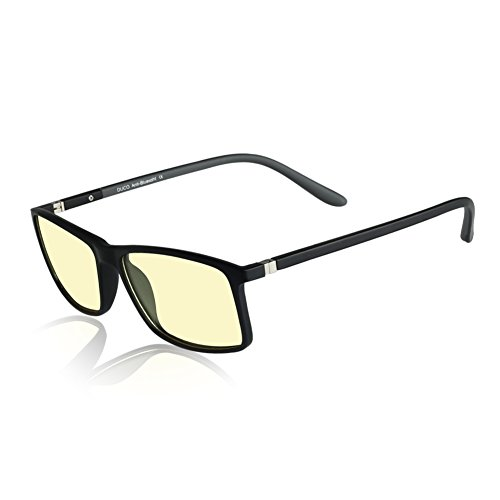 Duco TR90 Frame Blue-Light Blocking Gaming glasses with Anti-reflective Anti-glare UV Protection Computer Glasses with Amber lens - Try Sunglasses 3d On
