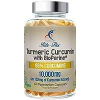 Curcuma 10 000 mg avec BioPerine® normalisée à 95% de curcumine, extrait extra fort de 200 mg, 60 gélules