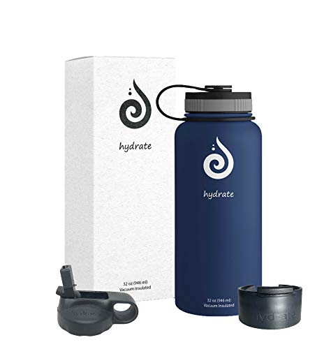 Hydrate 32 oz Stainless Steel Water Bottle. Comes with Additional Straw lid and flip lid. BPA Free & Leak Proof. (Cobalt Blue)