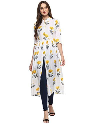 Aahwan Women's Floral Printed Indian Kurtis Muslin Silk Front Slit Calf Long Dress White Large - 40