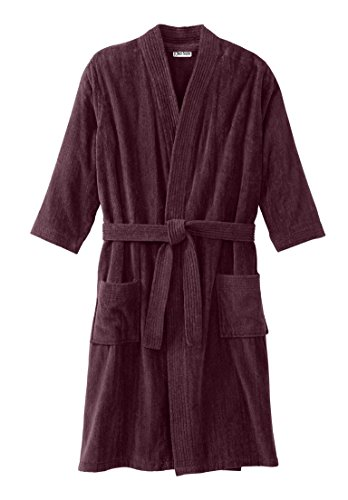 Tall Terry Velour Kimono Robe, Deep Burgundy Tall-2Xl/3X ()