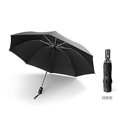 Retroceso automático Paraguas Paraguas plegable lluvia Dual Use Double Black grandes hombres y mujeres contra Windmühlen