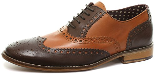 London Brogues Gatsby Leder Herren Halbschuhe Tan/Brown