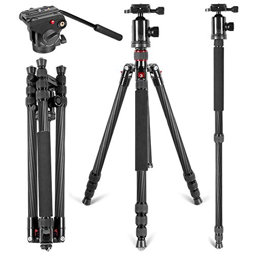 Neewer Carbon Fiber 66 inches/168 Centimeters Camera Tripod Monopod with 360 Degree Ball Head, Quick Shoe Plate, Fluid Drag Pan Head for DSLR Cameras Video Camcorders, Load Capacity up to 26.5 pounds from Neewer