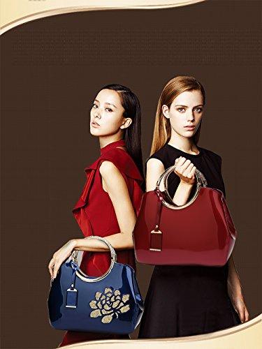 cuero de Vino de la mujeres las bolso bolso de bolsa de de de charol Tisdaini cuero de señoras Mensajero las la Tinto moda bolsa Bolso XRwxq0vg4