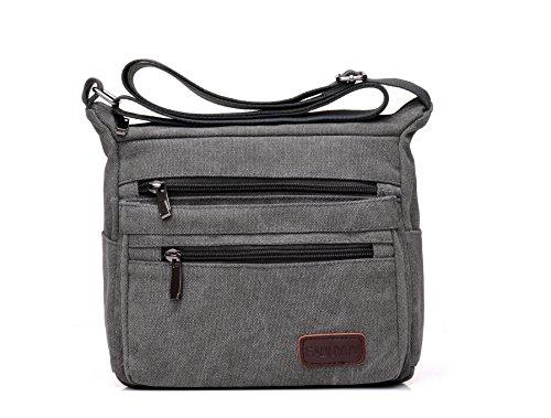 Casual Canvas Zipper Single Adjustable Strap Shoulder Bags Messenger Crossbody Handbags (Gray) Casual Purse