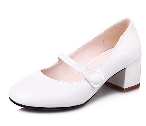 Odomolor Women's PU Solid Pull-On Round-Toe Kitten-Heels Pumps-Shoes, White, 33