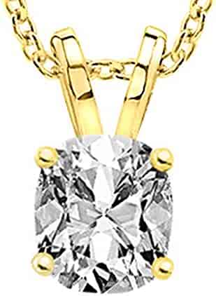 0.74 Carat Cushion Diamond Solitaire Pendant Necklace I Color VS2 Clarity w/ 18