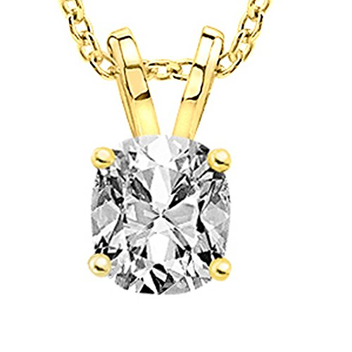 0.6 Carat 14K Yellow Gold Cushion Diamond Solitaire Pendant Necklace G Color SI1 Clarity
