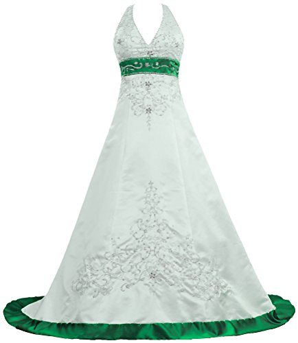 Unbranded**** Women's Halter Wedding Dresses Color Satin Bridal Gown K481A-MFN