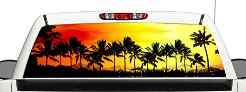(Truck SUV Beach Sunset Rear Window Graphic Decal Perforated Vinyl Wrap (22x66))