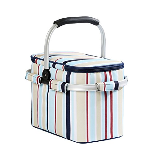 (HM&DX Insulated picnic basket for 2~3 collapsible picnic hamper bag market lunch tote for bbq camping hiking school-A 382526cm)