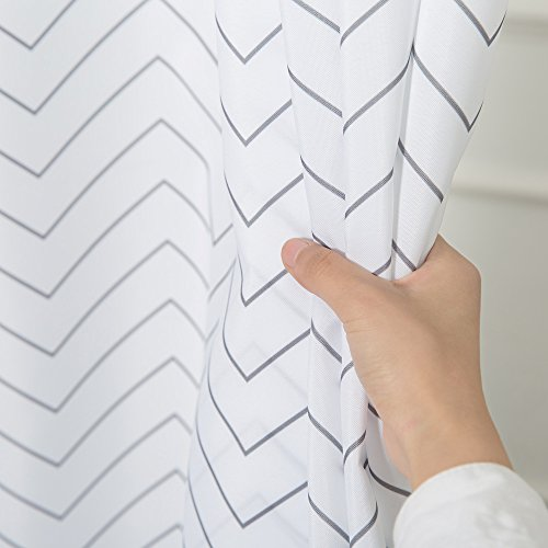 White Striped Washable Fabric Shower Curtain Mildew Resistan