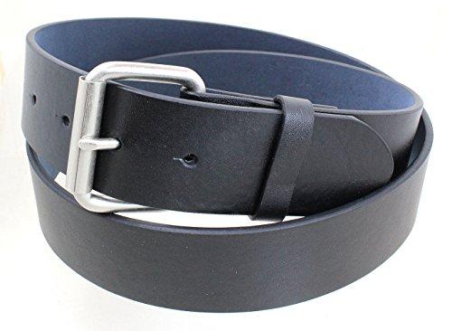 Men's Satin Nickel Roller Belt Buckle Smooth Leather Belt - Black (Removable Roller Buckle)